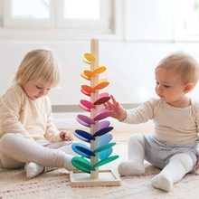 Wooden Ball Run Track Assemble Building Blocks Petal Tree Leaf Tower Toy Montessori Rainbow Ball Educational Diy Game  For Kids
