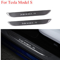2Pcs Carbon Fiber Car Front Door Sill Welcome Pedal Sticker Interior Decoration Cover Protector Accessories for Tesla Model S