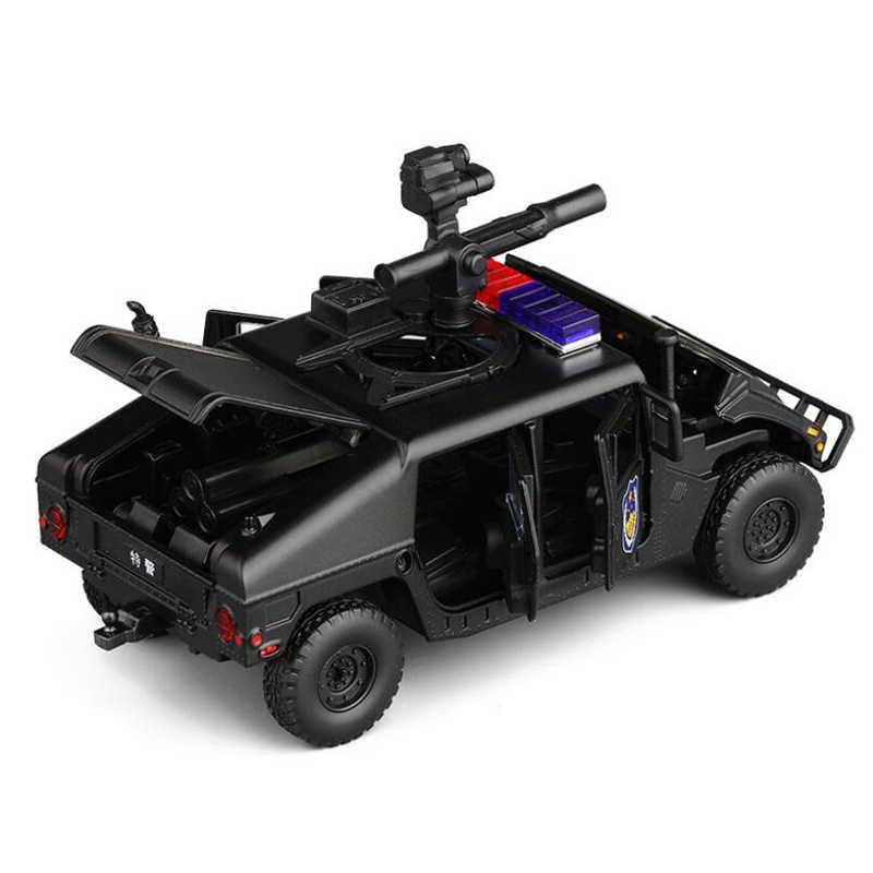 1:32 Hummer H1 Pressofuso in Lega Giocattolo Polizia Armata Speciale Modello di Auto Luce Del Suono in Grado di Aprire La Porta a Sei Ruote Giocattolo auto Giocattoli per I Ragazzi