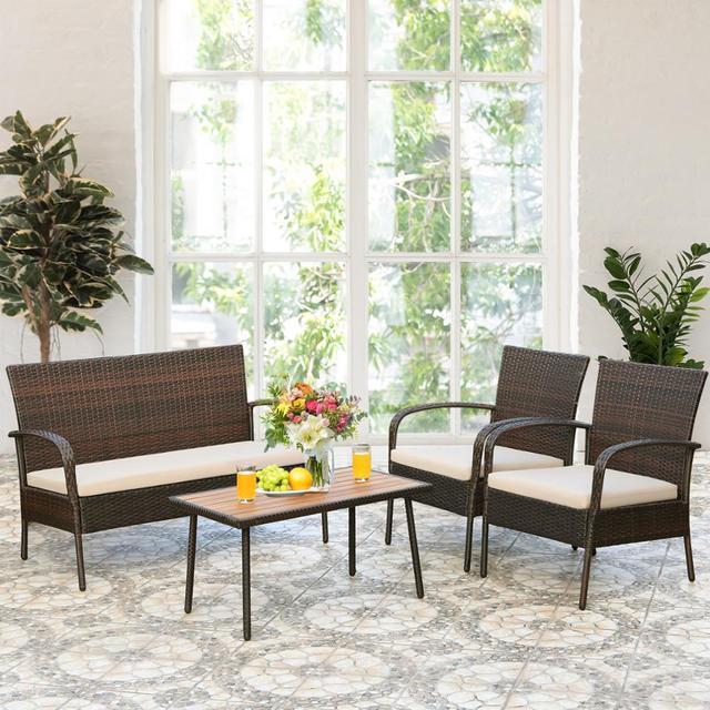4PCS Patio Conversation Furniture Set  4