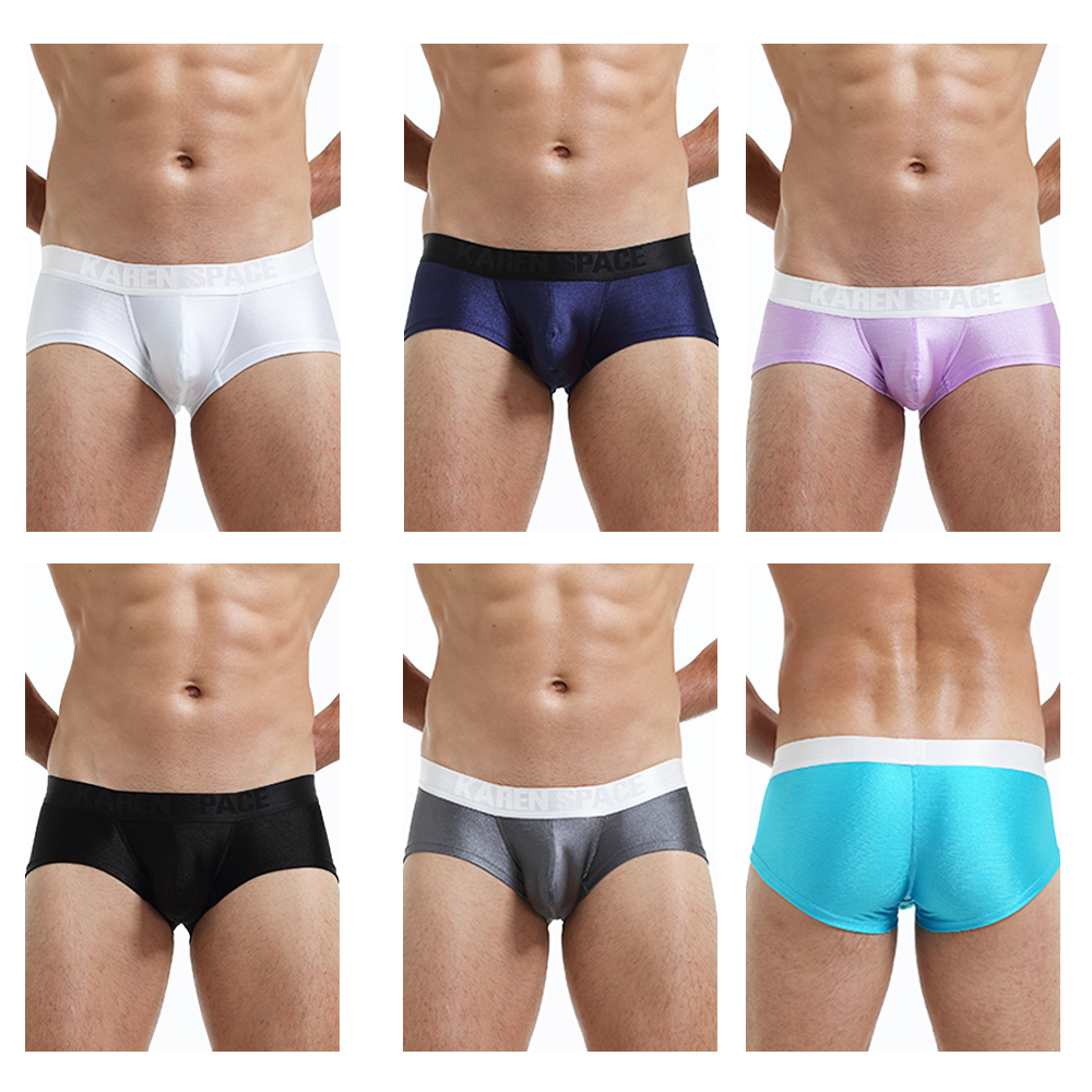 Underwear Men Sexy Man Silk bright shine Mini Boxers Gay male Bulge Pouch Trunks fashion satin pink blue Panties