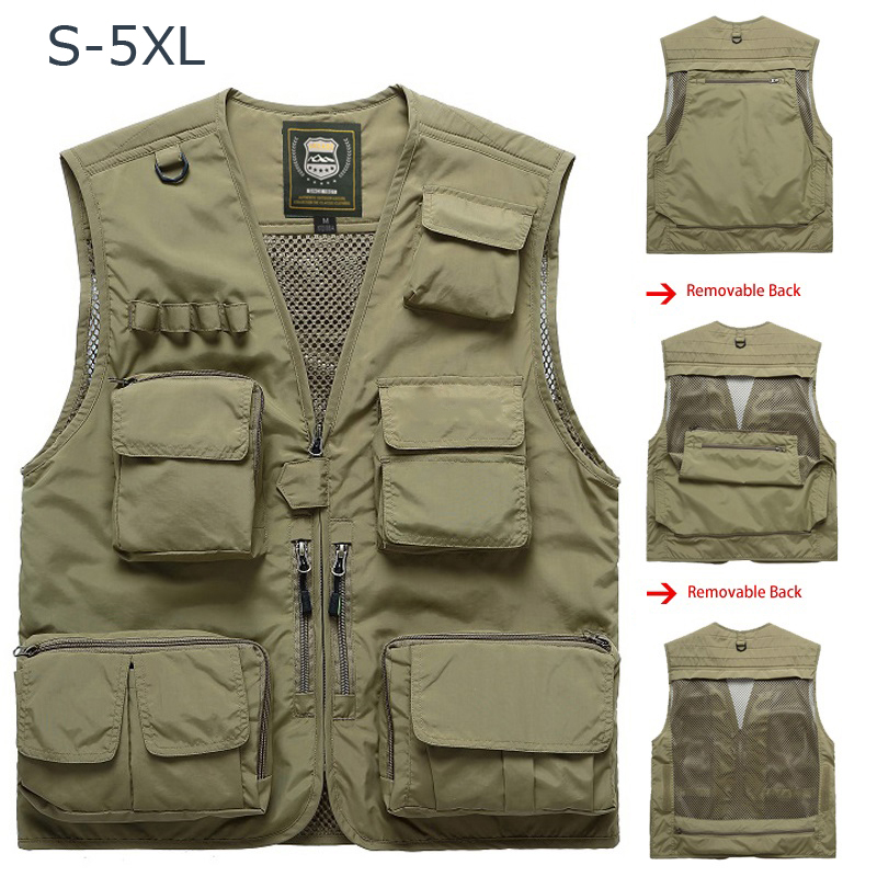 Fishing Vests Breathable Multi Pocket Mesh Vest Sleeveless Jackets Unloading Photography Hiking Vests Chalecos Para Hombre