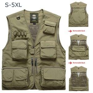 Fishing Vests Breathable Multi Pocket Mesh Vest Sleeveless Jackets Unloading Photography Hiking Vests chalecos para hombre
