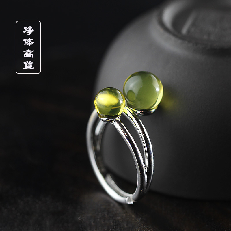 silver product manufacturers direct marketing net body S925 pure silver jewelry fashion lady Mexican blue amber ring