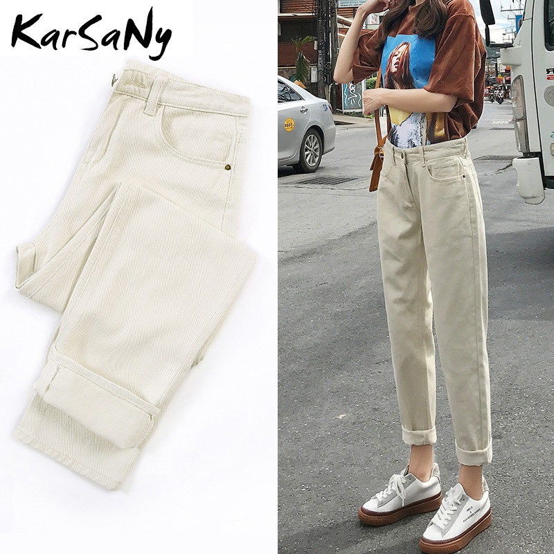 KarSaNy Ladies Jeans Boyfriend For Women Loose Harem Jeans Woman High Waist 2020 Black Jean Femme Denim Pants Capris Spring