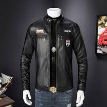 Mens Retro Style Zipped Biker Jacket PU Leather Soft Black Casual Plus Size M-3XL