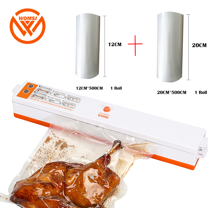 WOMSI 220V/110V Household Food Vacuum Sealer Packaging Machine Film Sealer Vacuum Packer Including 15Pcs Bags And 2roll Bags