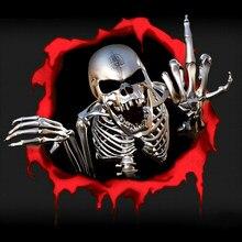 Hot Metal Skeleton Skull In The Bullet Hole adesivo per auto parabrezza paraurti moto casco Decal vinile graffi PVC impermeabile