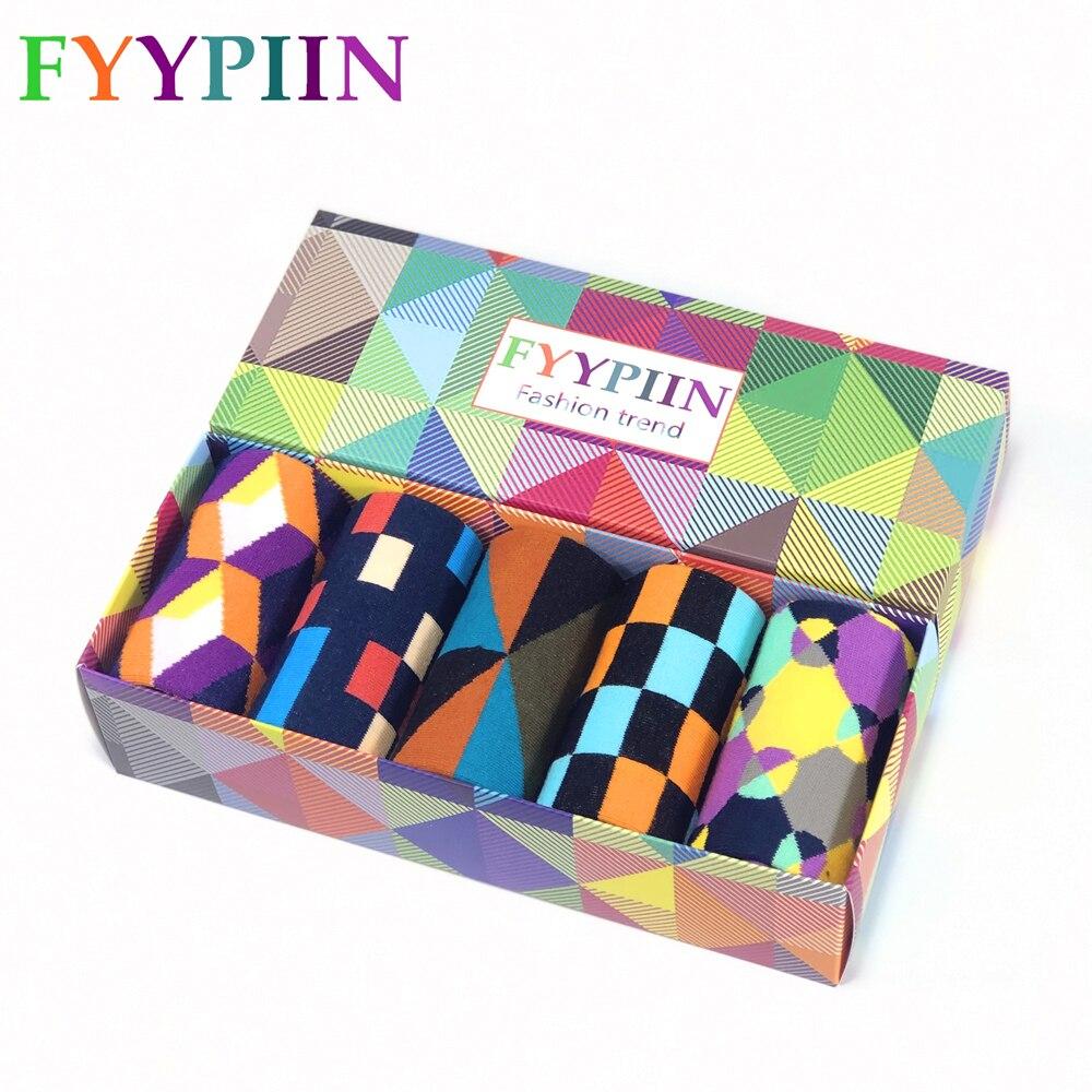 Men's Socks New Christmas Gifts Gift Box Cotton Socks Casual Colorful Business Plaid Classic Socks Men