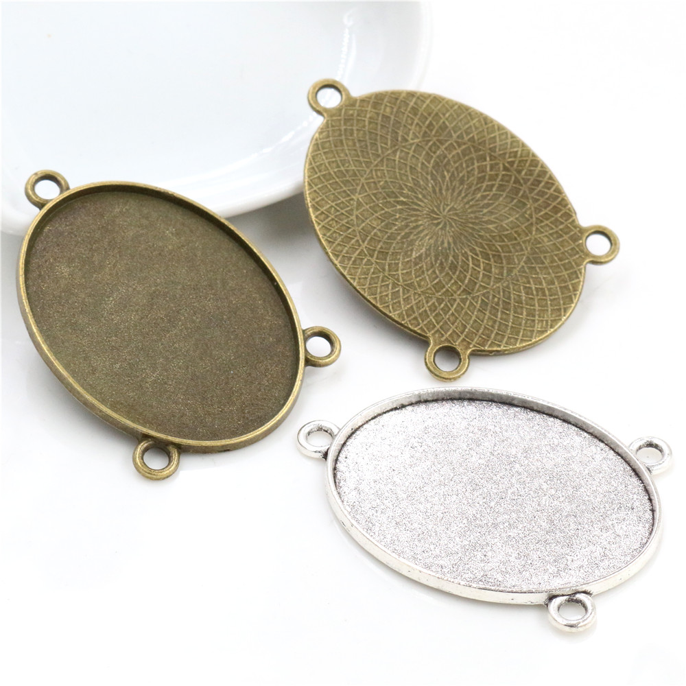 New Fashion 5pcs 30x40mm Inner Size Antique Silver Plated Bronze Colors Plated Three Loop Style Base Setting Pendant