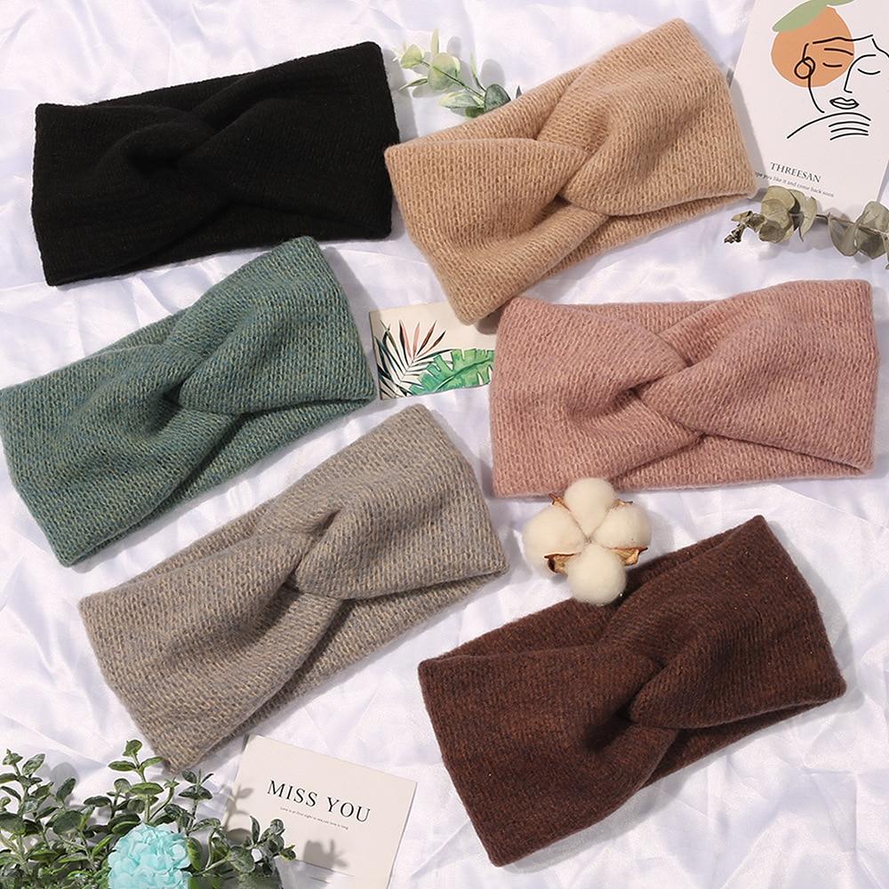 Donarsei Korea Winter Wide Knitting Cross Headband For Women Fashion Solid Color Elastic Yoga Turban Bandage Bandanas HairBands