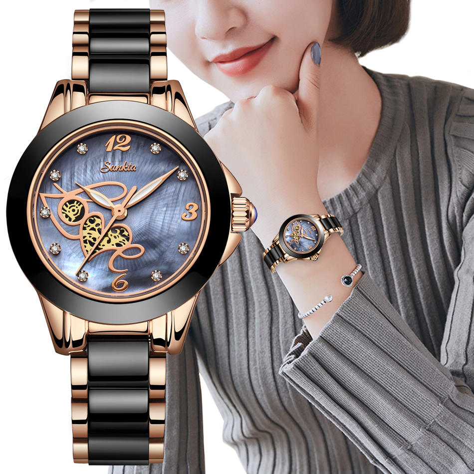 SUNKTA Women watch Top Brand Luxury Casual Fashion Watch Women Ceramic Waterproof Ladies Watch Diamond Gift Bracelet Reloj Mujer