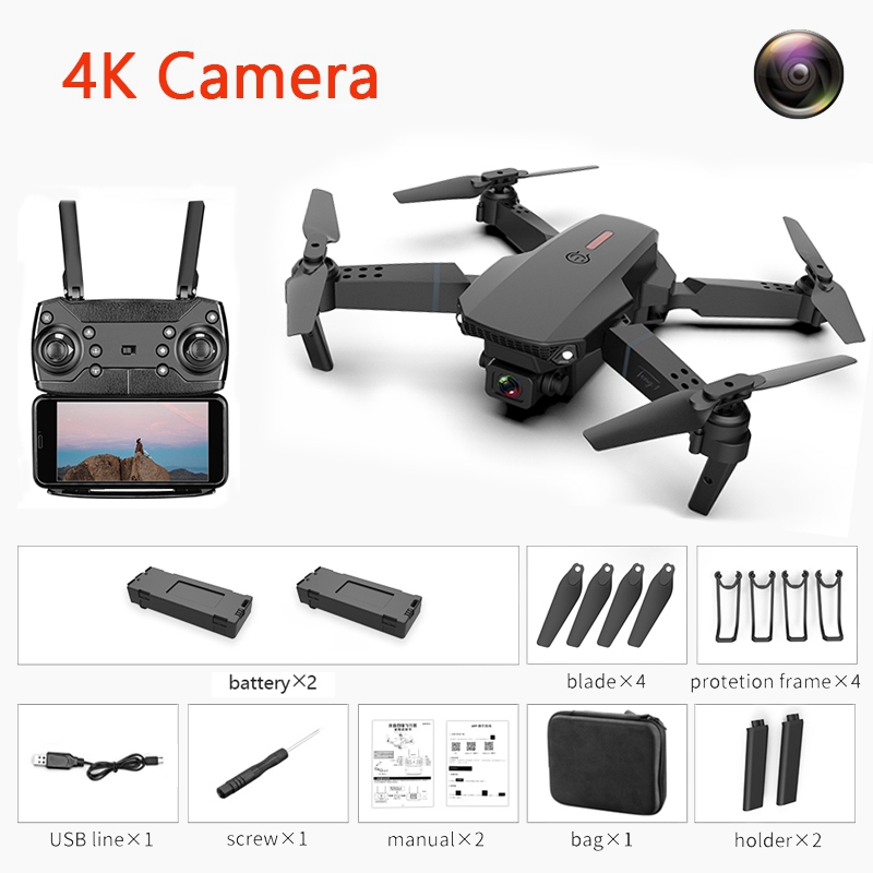Drone with Camera 4K 1080P HD Wide Angle Camera WiFi fpv Dron Dual Cameras Quadcopter Height Keep Camera Drones for Kids Toys