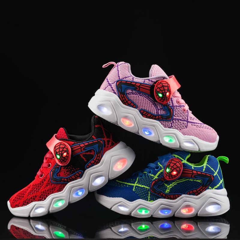 TuYao Ragazzi Scarpe Luminose Ragazze Ardore Spiderman Pattini di Bambino Del Bambino Casual Luminoso della Scarpa Da Tennis HA CONDOTTO LA luce up morbido scarpe per bambini grandi