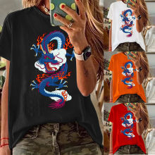 Women Shirts Colorful Dragon Print White Chinese Character T Shirt Female Casual Tops Tee Streetwear Lady Short Sleeve Clothing(China)