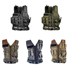 Men Military Tactical Vest Paintball Camouflage Molle Hunting Assault Shooting Plate Carrier With Holster