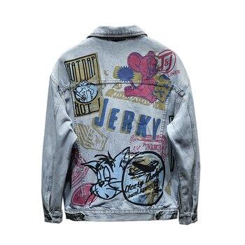 Hand Painted Graffiti Hip Hop Denim Jacket Men Hole Streetwear Oversized Harajuku Blue Jeans Jacket Fashion Denim Jacket Outwear