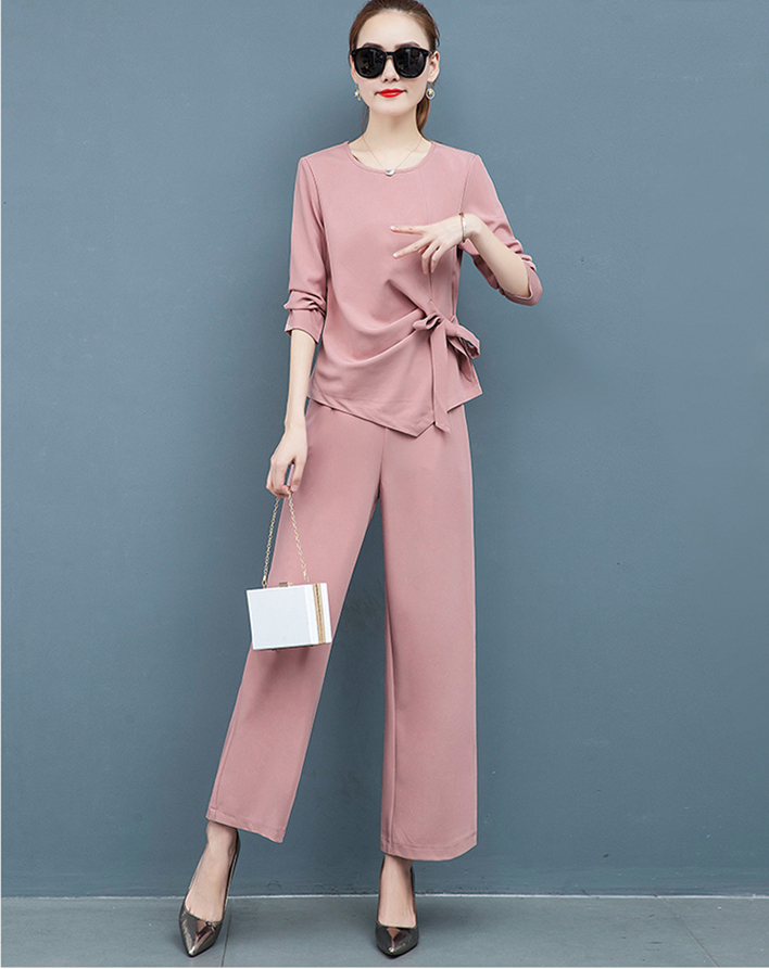 2019 Autumn Elegant Two Piece Sets Outfits Women Plus Size Long Sleeve Bow Tops And Wide Leg Pants Suits Office Korean Sets Pink 46