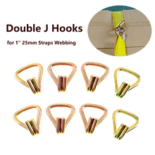 цена на Pack of 8 Heavy Duty Ratchet Tie Down Webbing Strap Double J Hooks Trailer Tow Lashing Accessories for 1