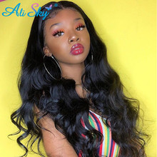 AliSky Peruvian Hair Weave Bundles 정면 13x4 인간의 머리카락 3 번들과 함께 바디 웨이브 번들 정면 헤어 익스텐션