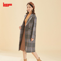IEF Autumn and Winter Vintage Plaid Mid Long Style Women Woolen Coat Parka Tweed Trench Coat Long Sleeves 0603A D64