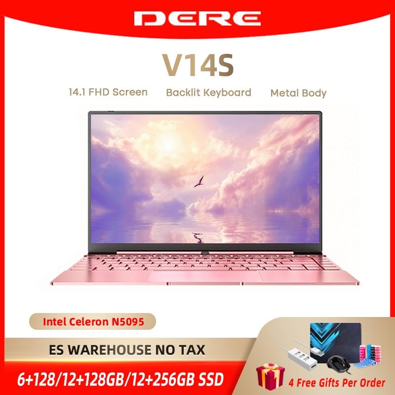Dere V14S 14.1inch Laptop Intel Celeron N5095 DDR4 12GB RAM 256GB SSD Backlit Keyboard Windows 10 1920x1080 Computer PC Notebook Laptops  - AliExpress