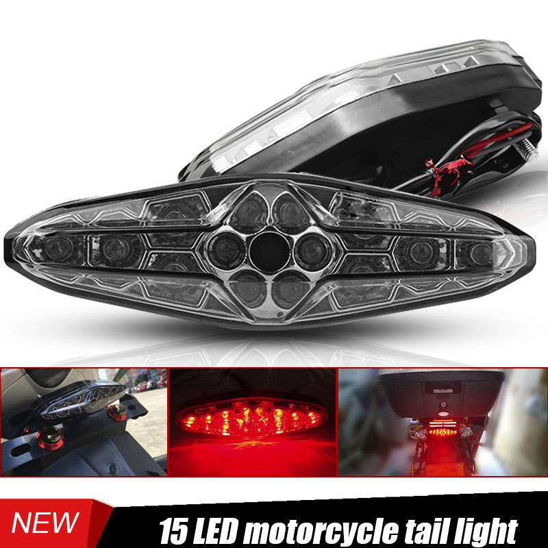 DERI New Universal Motorcycle Rear Tail Lights LED Braking Stop Running Tail Light For Motorcycle ATV Dirt Bike Moto Accessories