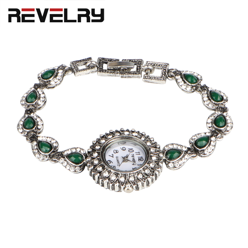2019 New REVELRY Watch Women Silver Bracelet Wristwatch Fashion Dress Casual Watches Fine Green Resin Watchband Quartz Clock