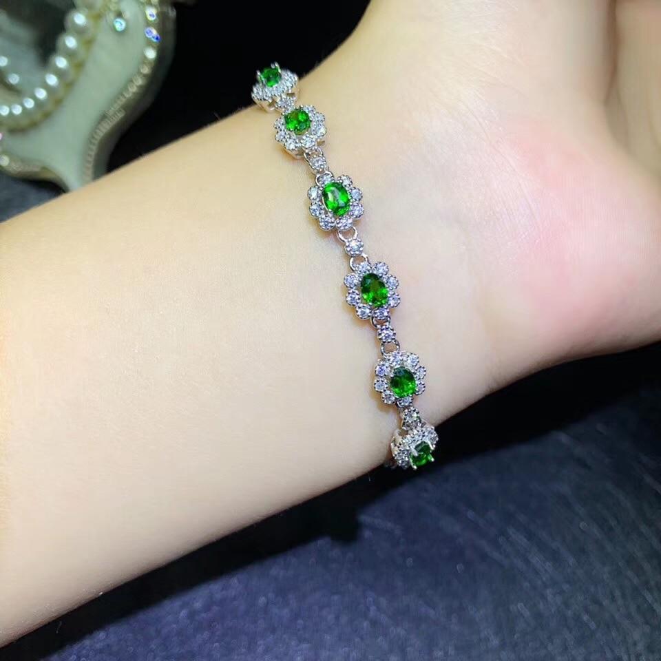 BOEYCJR 925 Bracelet en argent Sterling à la mode vert diopside bijoux fins énergie élégant Bracelet en pierres précieuses pour les femmes cadeau
