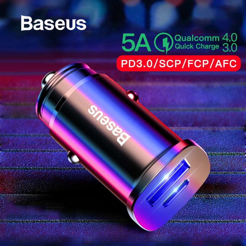 Baseus carga rápida 4,0 USB 3,0 cargador de coche para iPhone 11 Pro Max Xiaomi Huawei SCP QC QC4.0 QC3.0 C policía coche cargador de teléfono