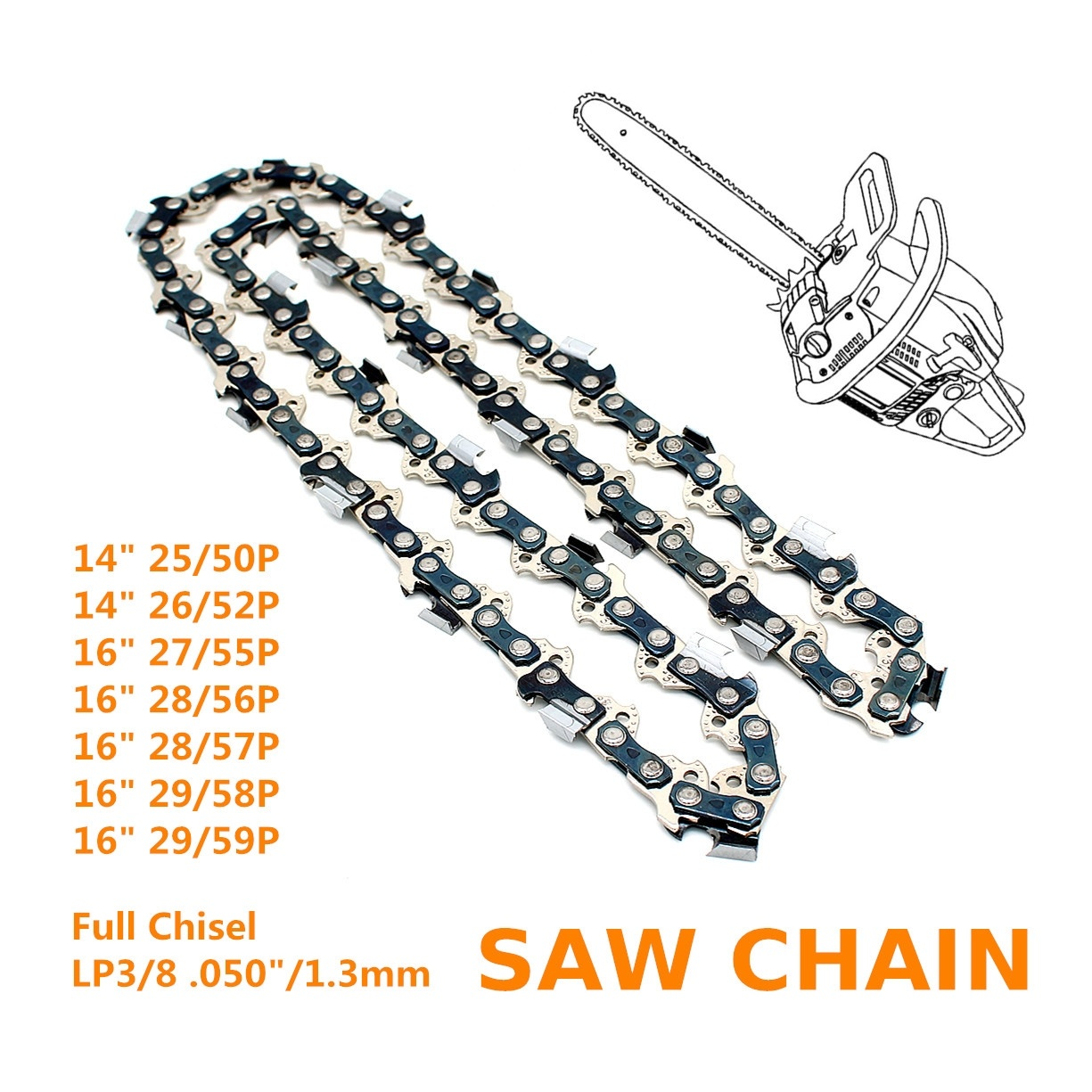 "16-Inch Full Chisel 56 Drive Links Chainsaw Chain 3//8/"" Pitch Gauge .050/"" Sell"