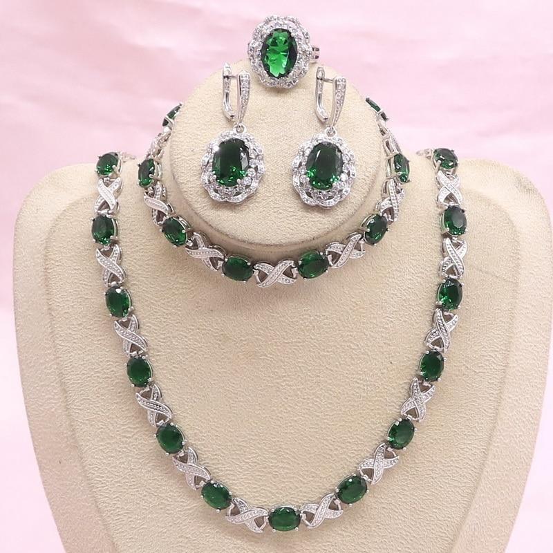Silber Farbe Schmuck Sets Für Frauen Grün Semi wertvolle Braut Schmuck Halskette Ohrringe Ring Armband Geschenk Box|Brautschmuck Sets| - AliExpress
