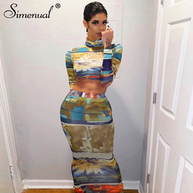 Simenual Fashion Skinny Printed Women Co-ord Sets Long Sleeve Casual Tie Dye 2 Piece Outfits Bodycon Crop Top And Long Skirt Set