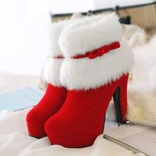 Platform Shoes Snow-Boots High-Heels Female Black Winter Women Ladies Ankle Christmas