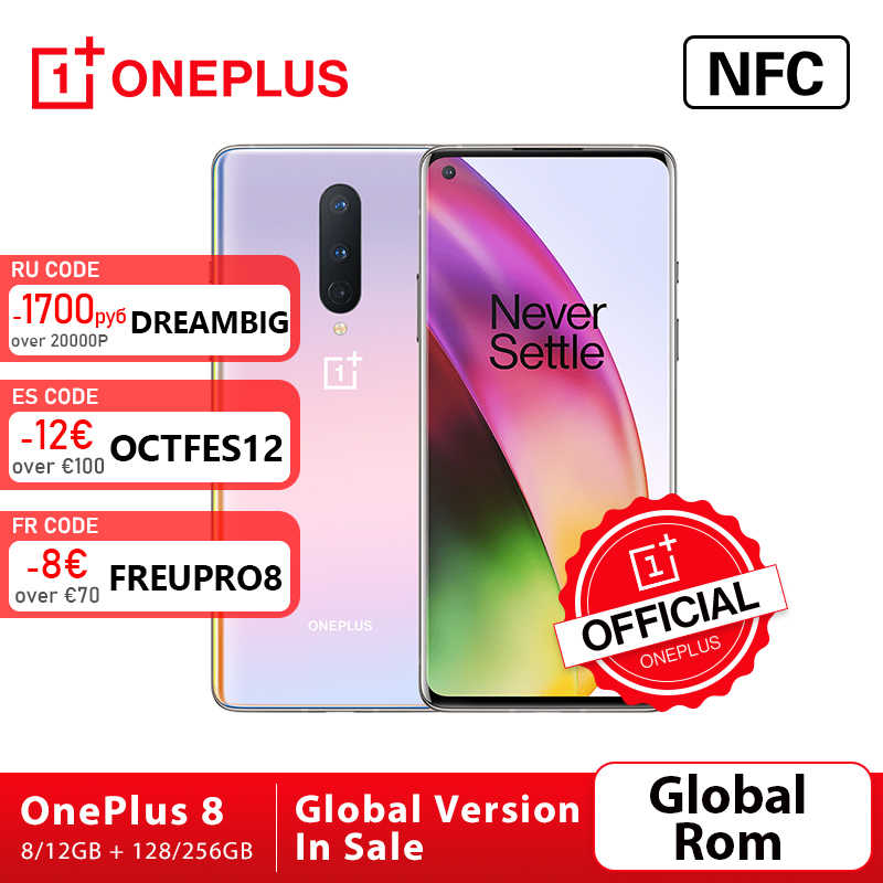 Rom globale OnePlus 8 5G Smartphone 8 go 128 go Snapdragon 865 Octa Core 6.55 ''90Hz affichage fluide UFS 3.0 48MP Triple cames WiFi 6