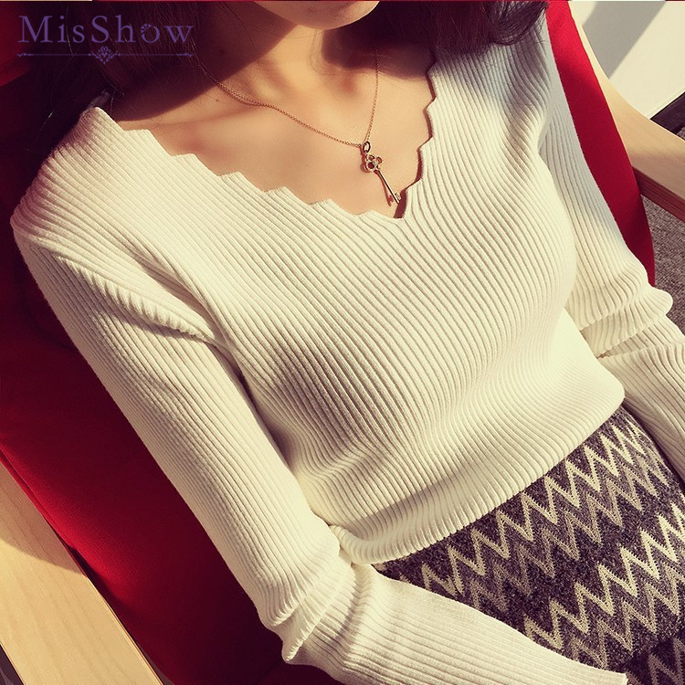 Misshow Autumn Winter Korean Style Sweater Women Unique Design Wave Collar Pullover One Size Elasticity Slim Jumpers Pull Femme