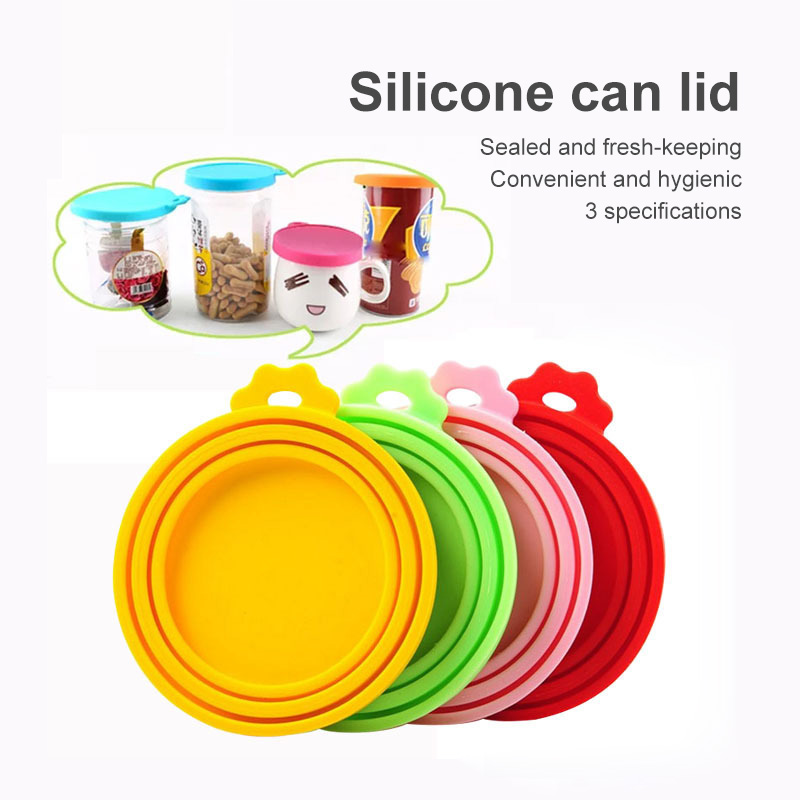 1Pcs 3 In 1 Reusable Food Storage Keep Fresh Tin Cover Cans Cap Pet Can Box Cover Silicone Can Lid Hot Kitchen Supplies Dropship 3