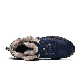 Image 2 - Мужские уличные ботинки SUROM, теплые водонепроницаемые Нескользящие Зимние ботильоны с толстой плюшевой и резиновой подошвой, рабочая безопасная зимняя обувь, 2019