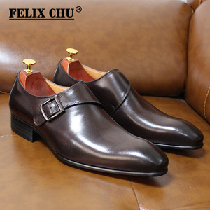 Image 1 - Size 13 Brand Designer Men Dress Shoes 2020 Genuine Leather Buckle Monk Strap Mens Brown Black Office Party Formal Mens Shoes