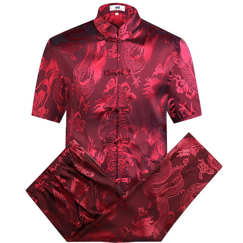 Red Plus Size Chinese Traditiona Men's Tang Suit Sets Short Sleeve Long Pants Kung Fu Suit High Quality Silk Wu Shu Tai Chi Sets