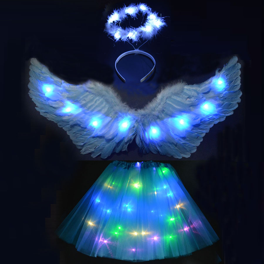 LED Light Kids Adult Feather Angel Wings Cosplay Party Costume Skirt Headband Wings Festival Carnival Clothing Accessories