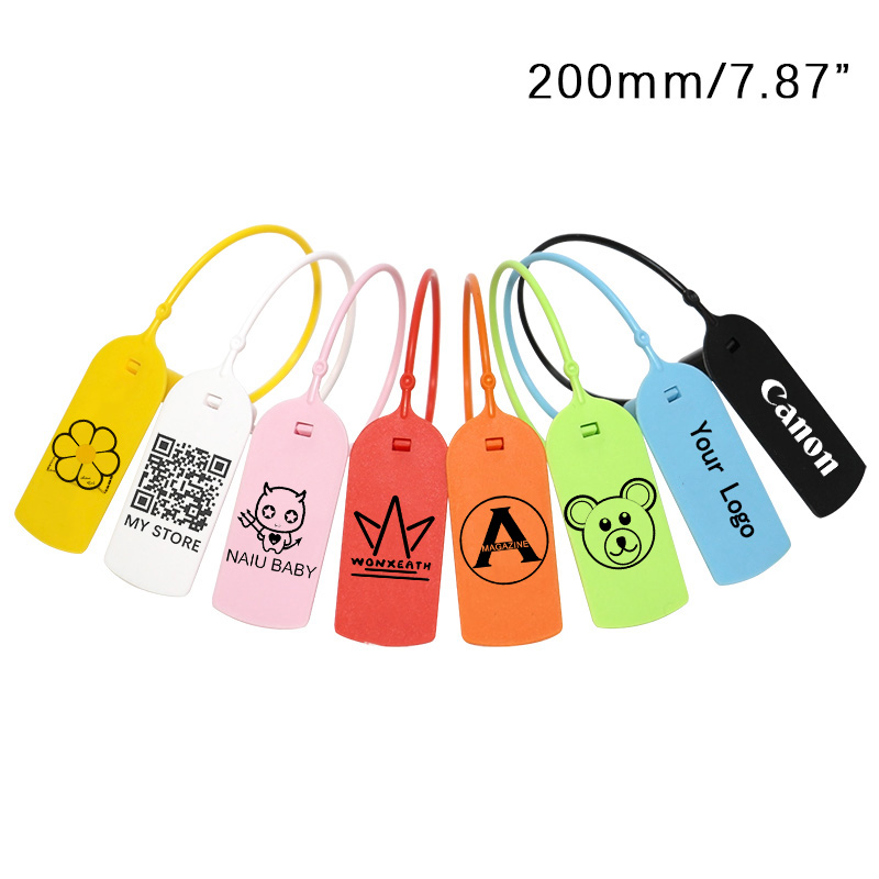 100Pcs Custom Brand Logo Hang Price Tag Plastic Disposable Garment Security Labels Tag Clothing Shoes Gift Tag  New 200mm/7.8