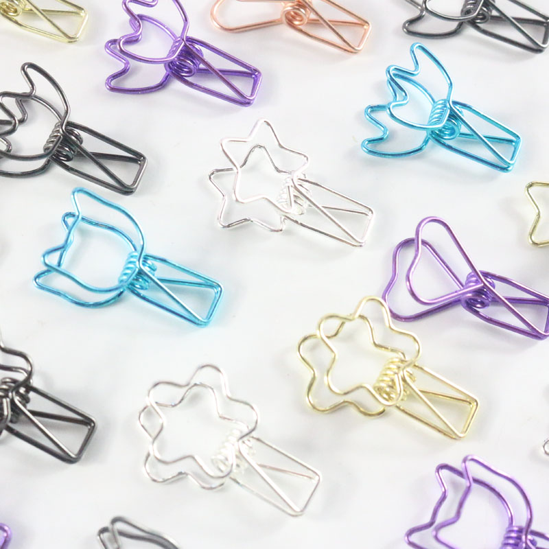 Domikee Cute Colorful Office School Metal Binder Clips Fine Student Heart Cat Shape Paper Memo Clips Stationery Supplies 2pcs