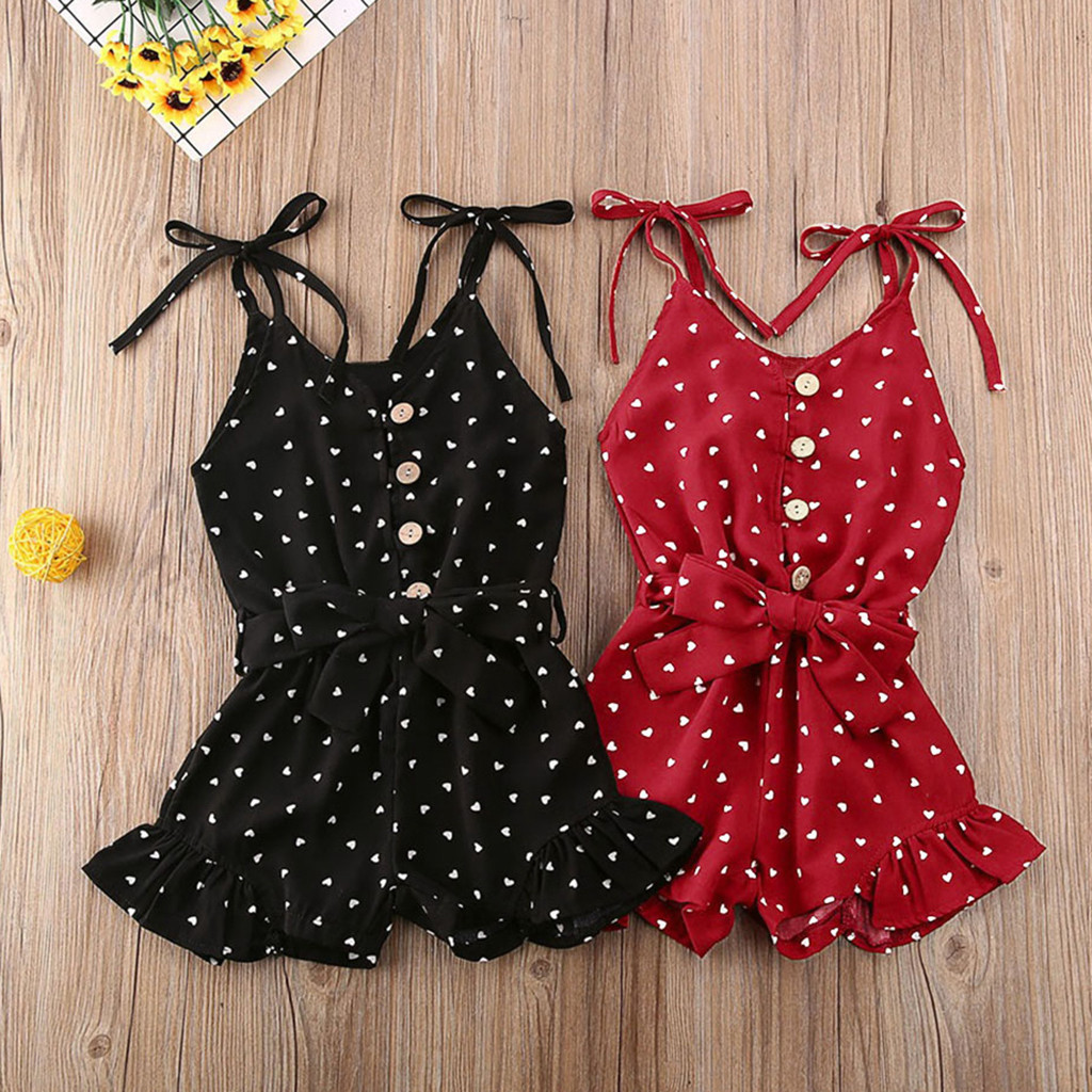 Baby Girl Jumpsuit Toddler/'s Sleeveless Summer Clothes Heart Printing  Outfits