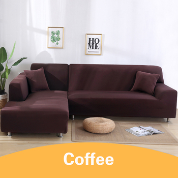 2Pcs Sofa Cover for Living Room Couch Cover Elastic L Shaped Corner Sofas Covers Stretch Chaise Longue Sectional Slipcover - Coffee, 3-Seat and 3-Seat