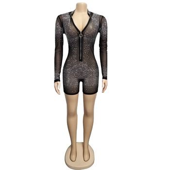 Pink Black Bling Diamonds Sexy Playsuits Long Sleeve Mesh See Through Zipper Low Cut Jumsuit Women Bodycon Overalls Clubwear 5