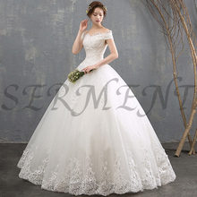 Floral Print Wedding Dress Lacework Hand-made Flowers Rhinestone Ball Gown Back Lace Up Boat Neck Free Custom Made Plus Size