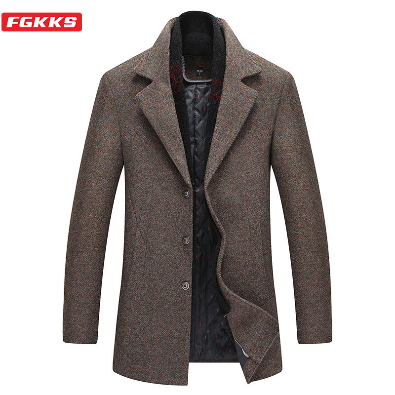 FGKKS Winter New Wool Blend Coats Men Quality Brand Men's Fashion Wool Coat Lapel Solid Color Wool Overcoat Male(With Scarf)