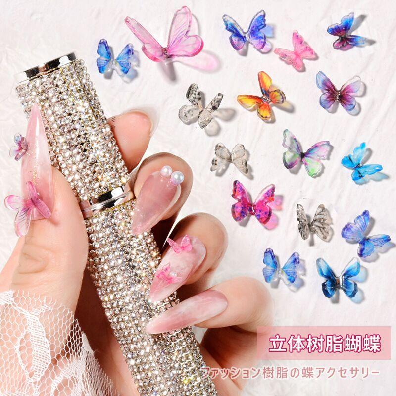 10 шт. 3D украшения для дизайна ногтей в виде бабочки, очаровательные украшения Фаллоу, лак для ногтей «сделай сам» в японском стиле, аксессуар...