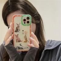 Funda de teléfono para iphone 11, 12 Pro Max, 7, 8 plus, X, XR, XS Max, cubierta trasera, gato, Animal, transparente, suave